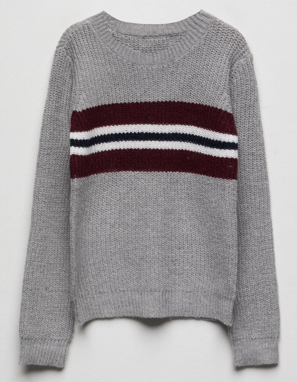WOVEN HEART Chest Stripe Grey Girls Sweater