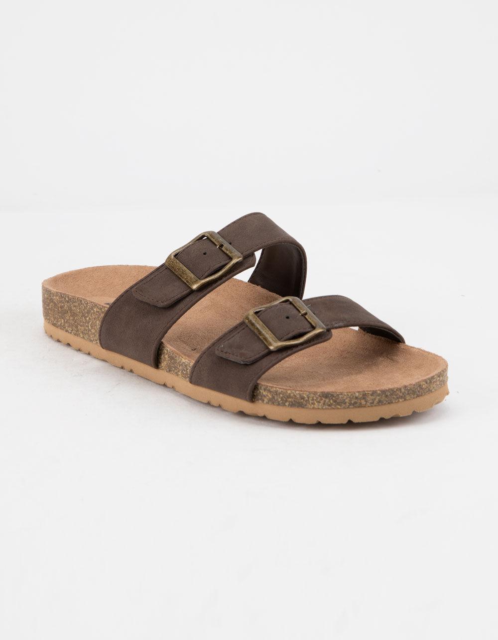 SODA Double Buckle Brown Slide Sandals