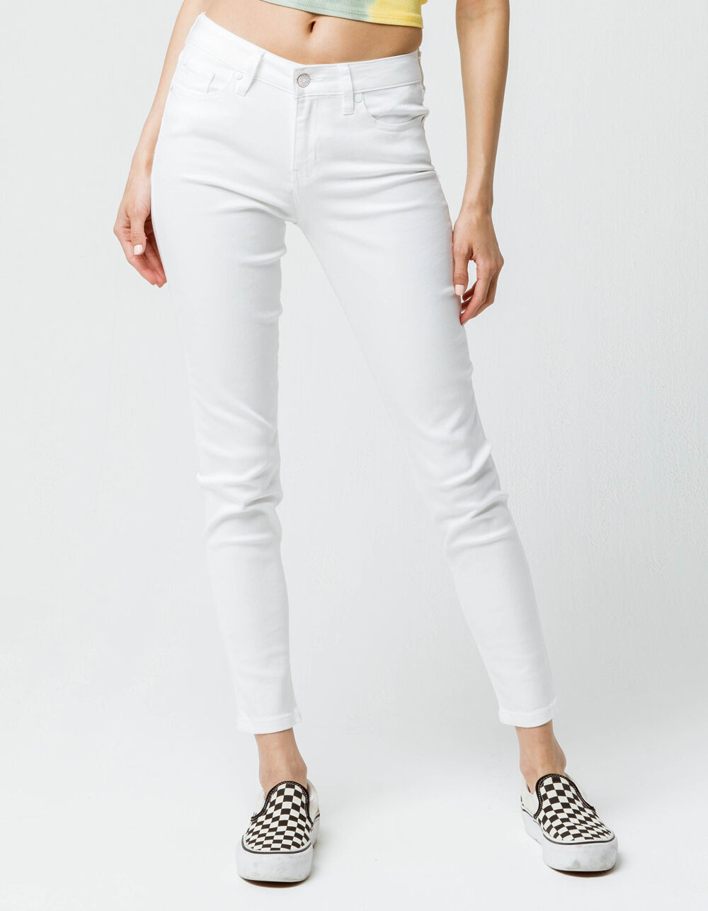 Image of CELEBRITY PINK MID RISE WHITE DENIM SKINNY JEANS