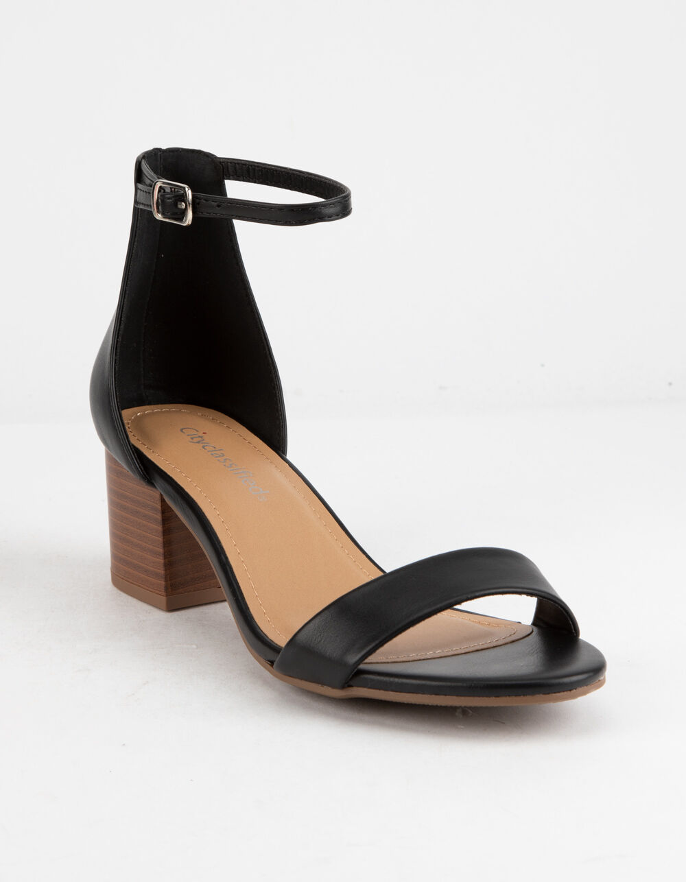 CITY CLASSIFIED Ankle Strap Stacked Black Heeled Sandals
