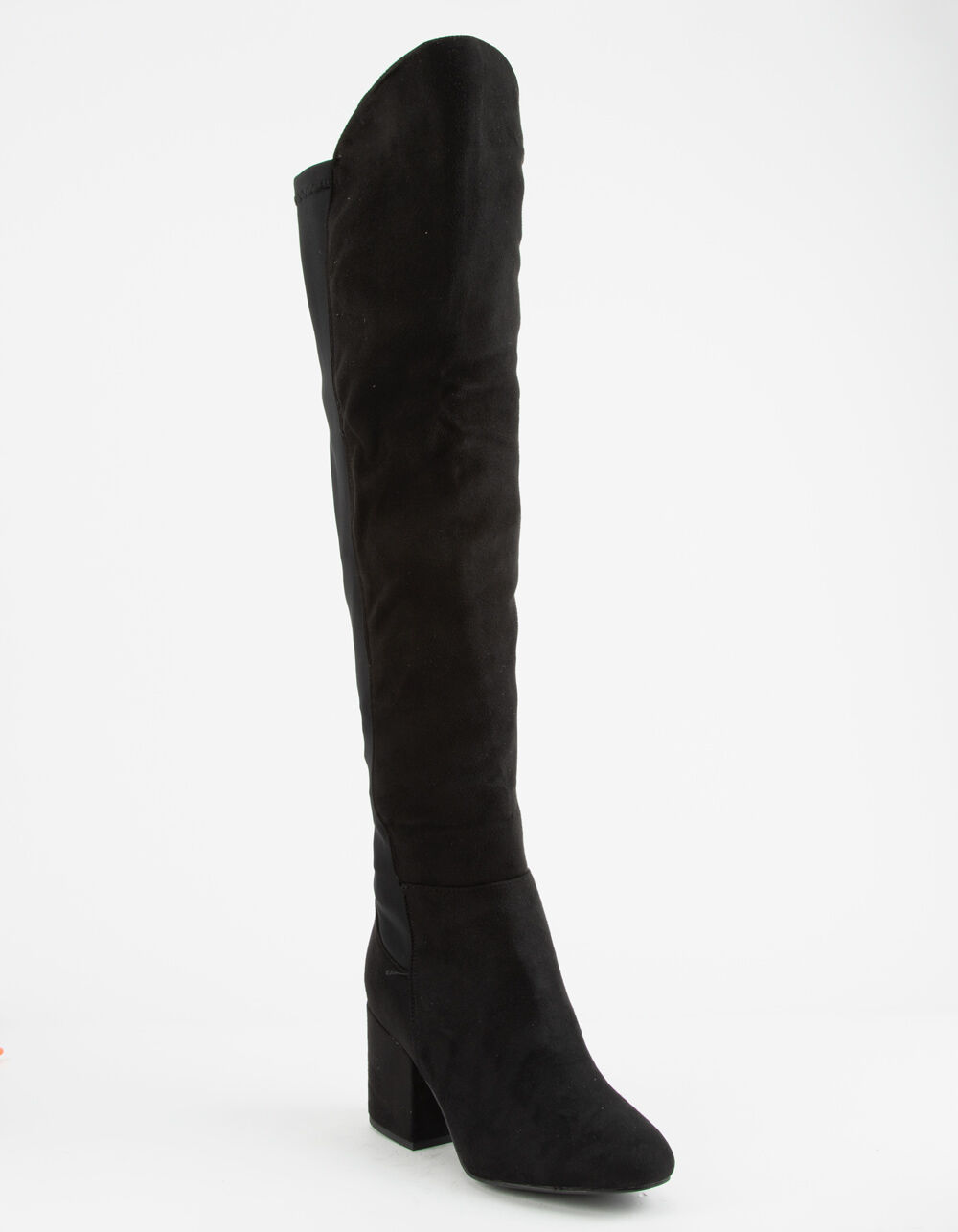 WILD DIVA Faux Suede Stretch Black Over The Knee Boots