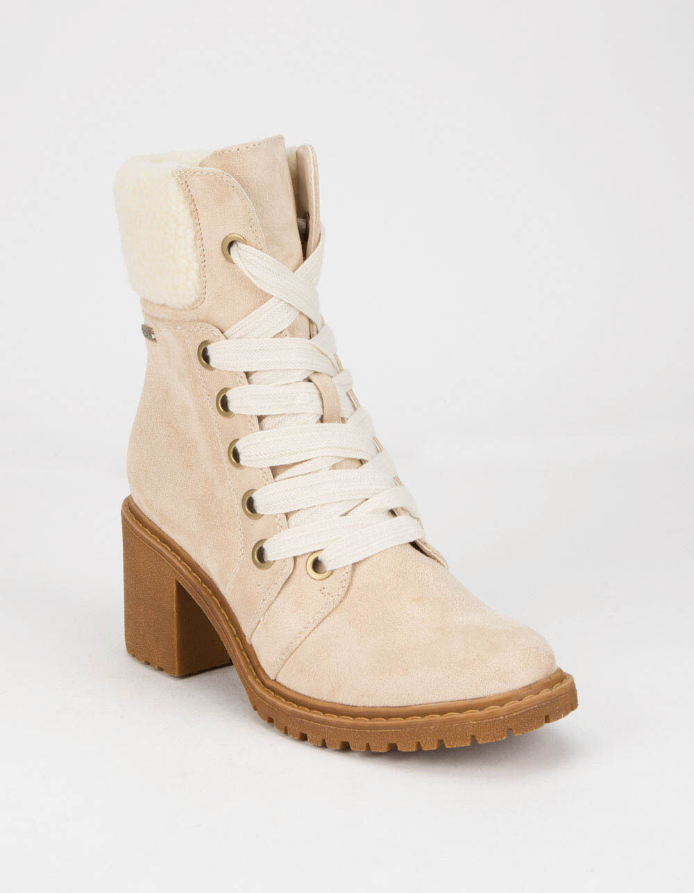ROXY Eddy Heeled Lace-Up Natural Lug Boots