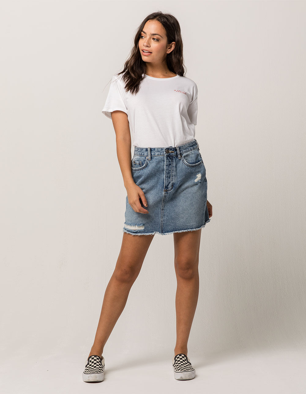 AMUSE SOCIETY Shortcut Ripped Denim Skirt