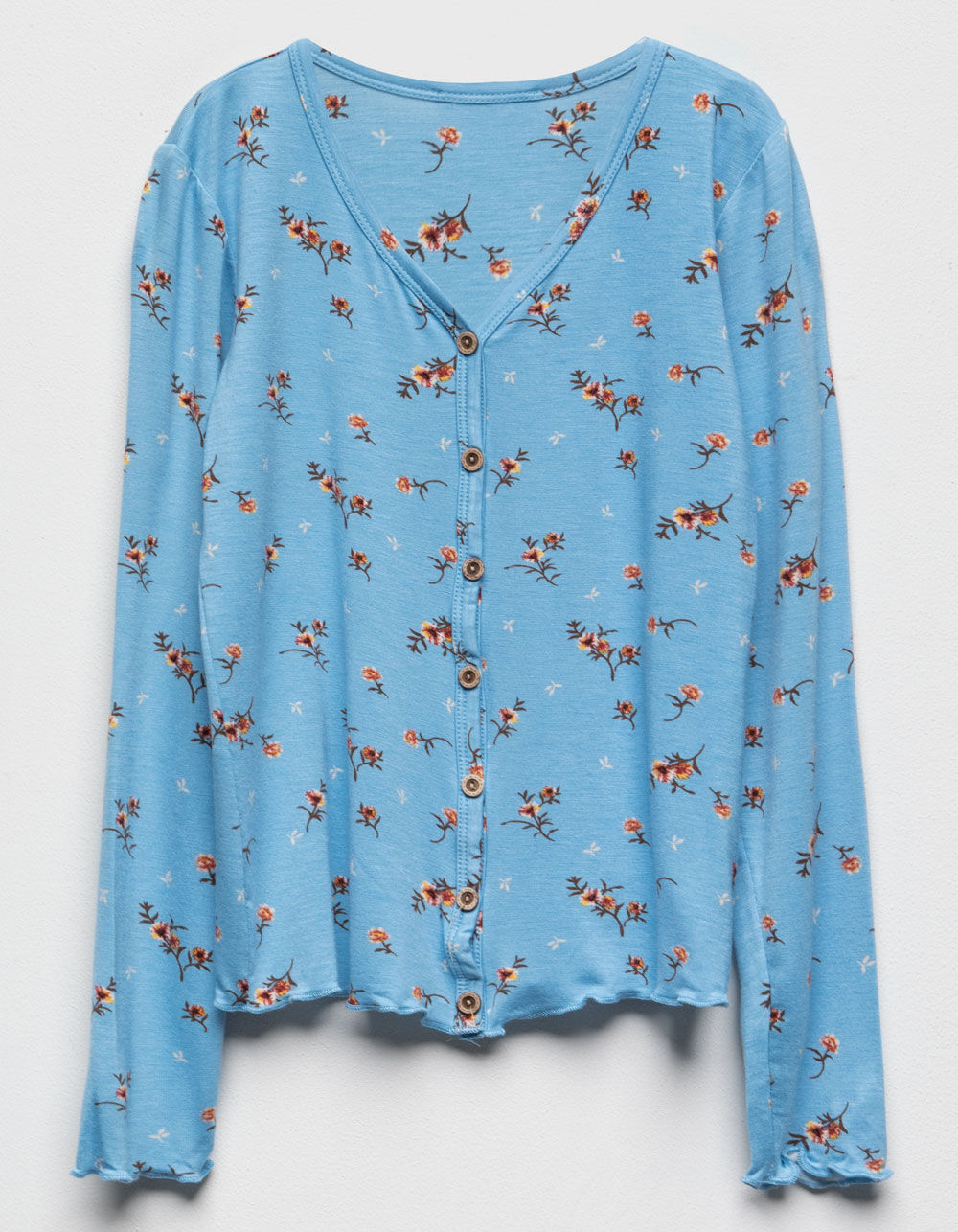 WHITE FAWN Floral Button Front Blue Girls Top