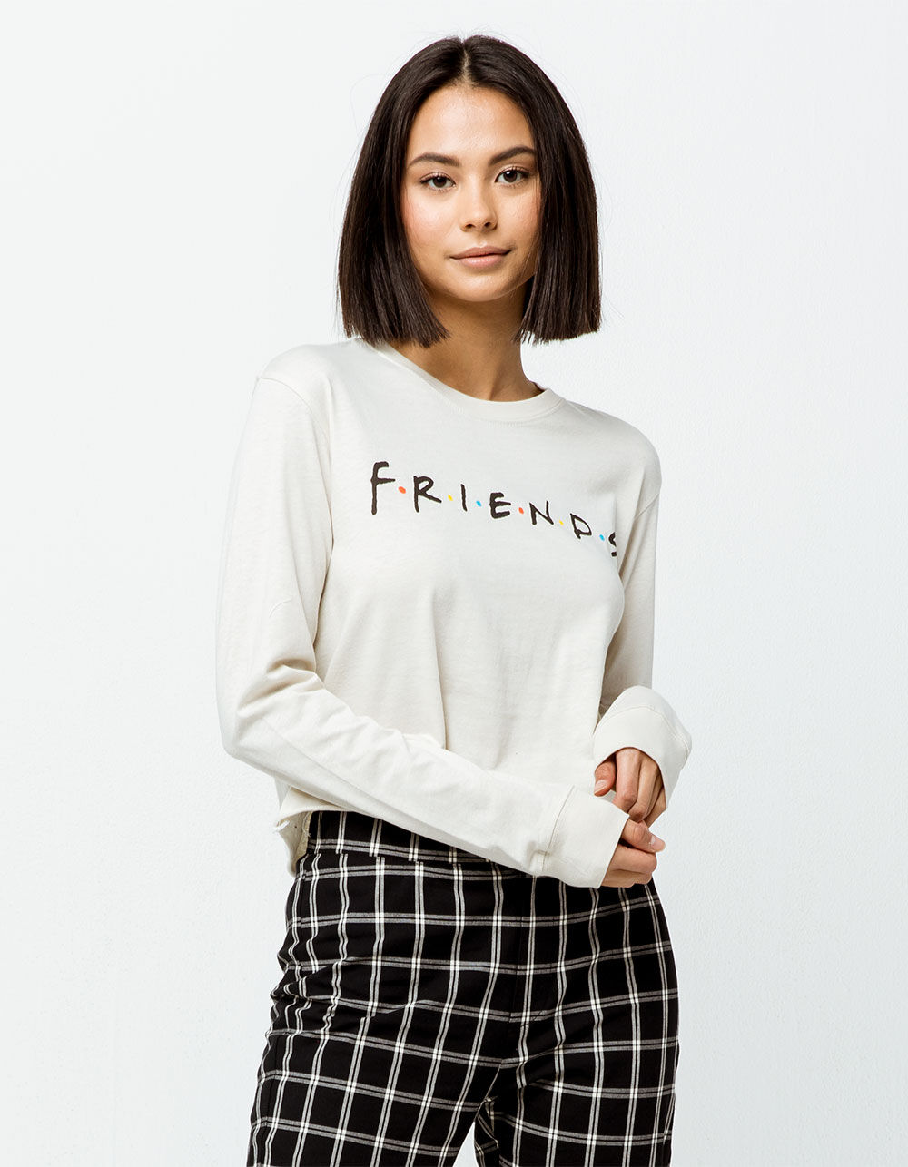 Image of GOODIE TWO SLEEVES FRIENDS OFF WHITE CROP TEE