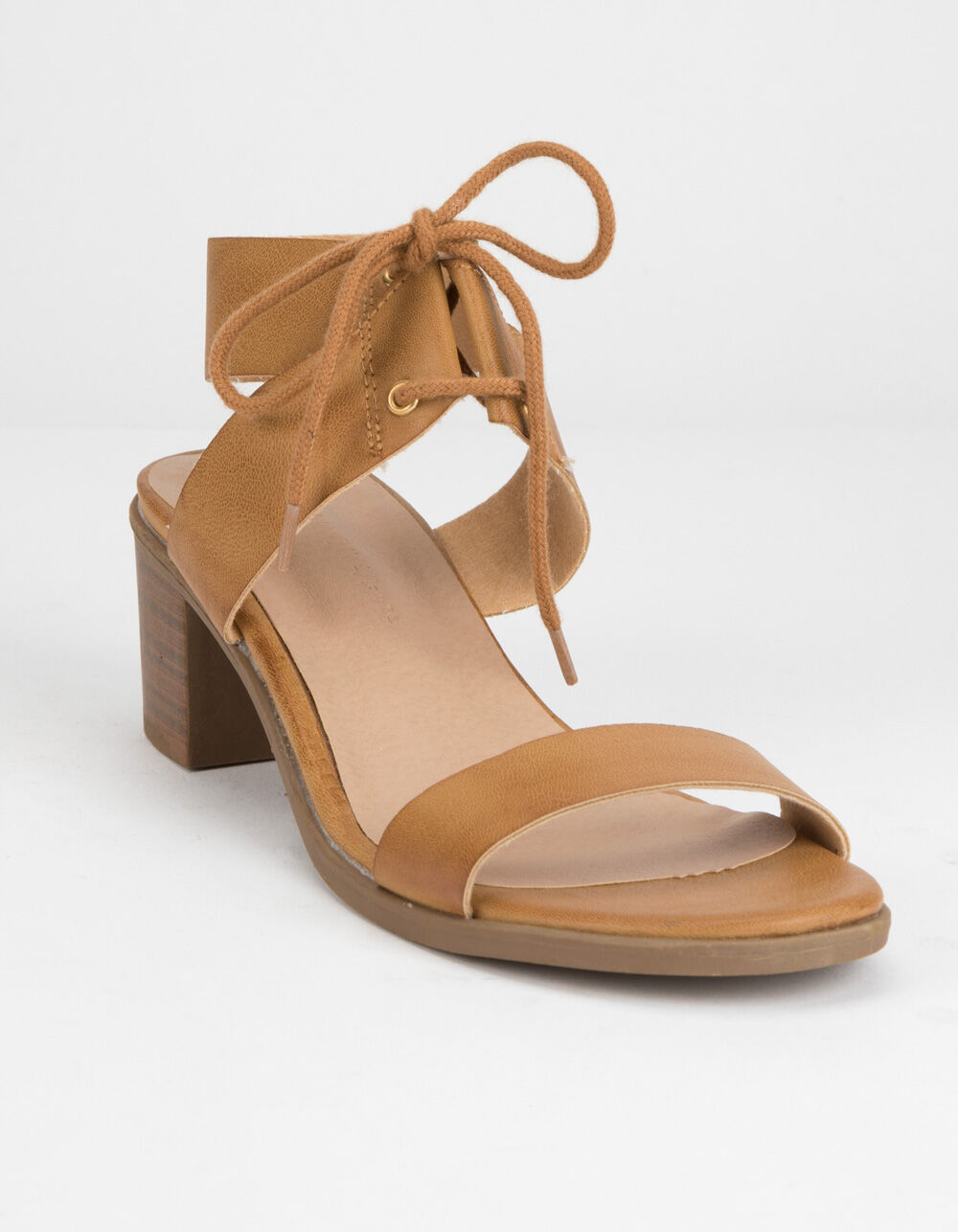 WILD DIVA Lace Up Block Tan Heeled Sandals
