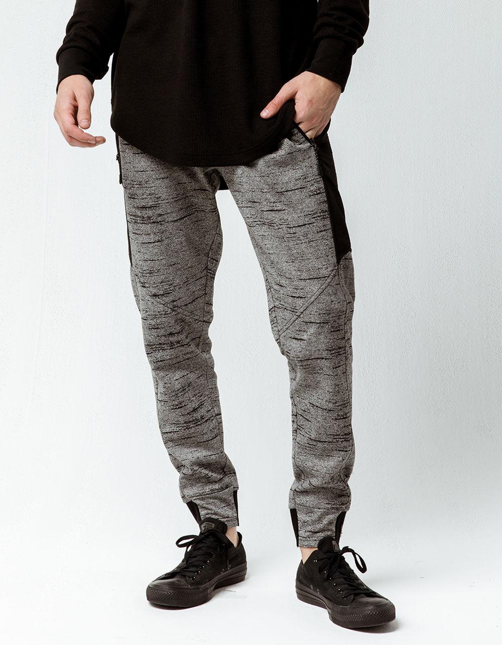 Image of BROOKLYN CLOTH NYLON BLACK STREAK BLACK & GRAY JOGGER PANTS