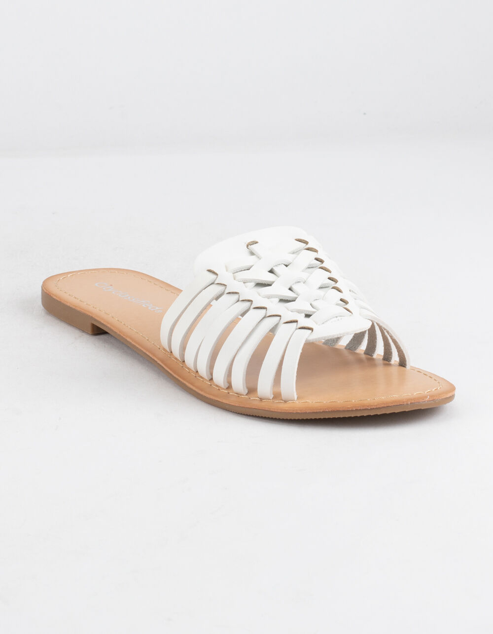 CITY CLASSIFIED Basket Weave White Sandals