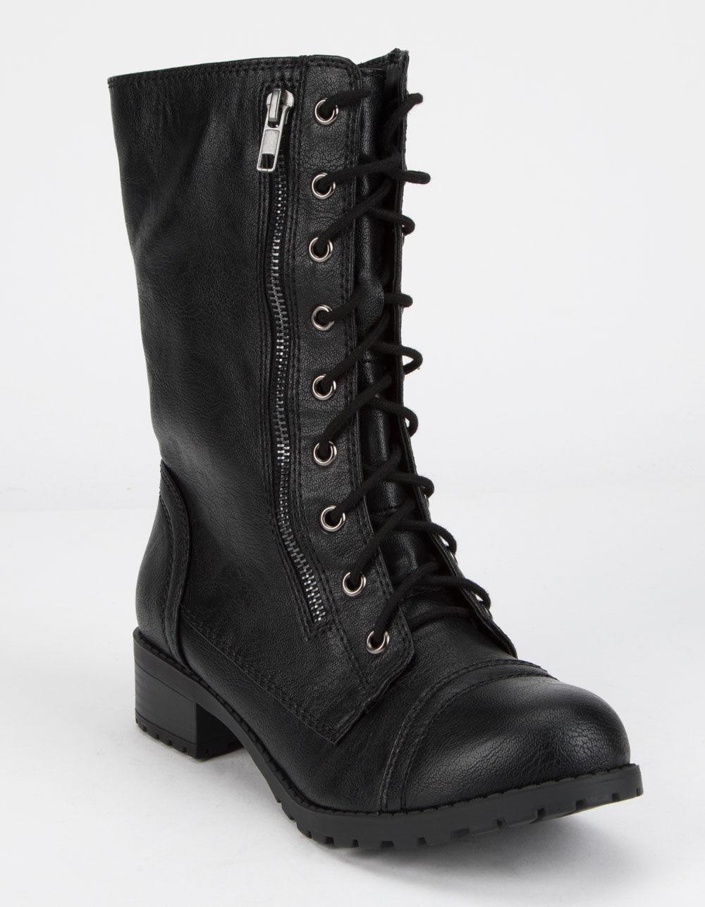 SODA Lace Up Black Combat Boots