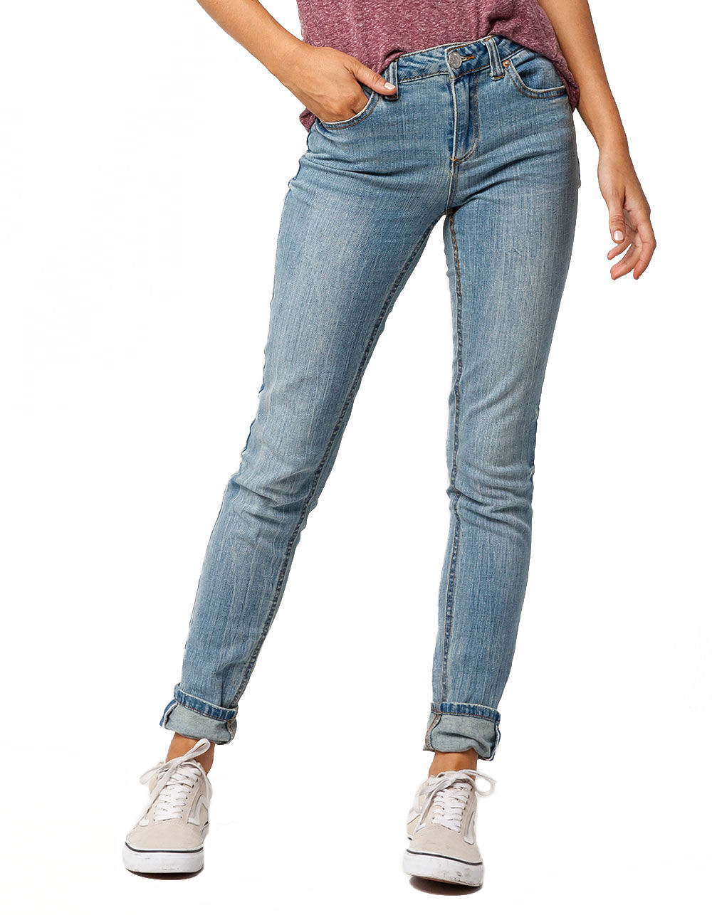 Image of ALMOST FAMOUS PREMIUM CUFFED SKINNY JEANS