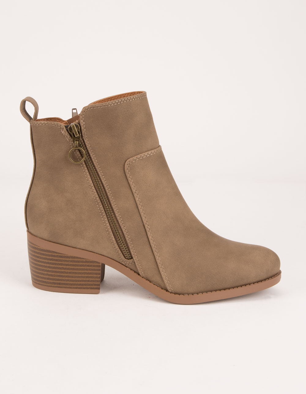 CITY CLASSIFIED Side Zip Taupe Booties