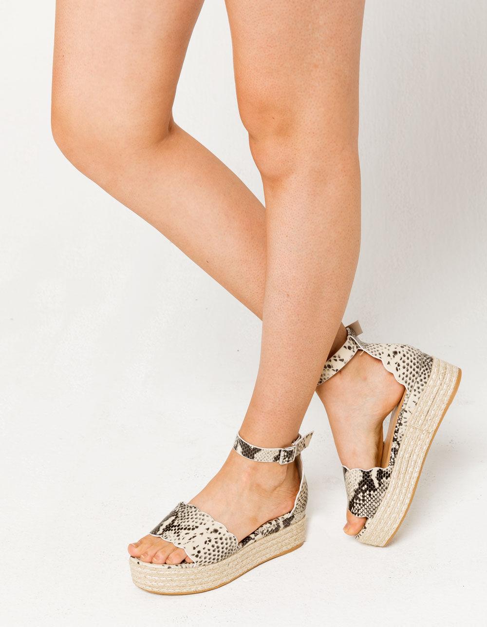 BAMBOO Scallop Espadrille Snake Platform Sandals