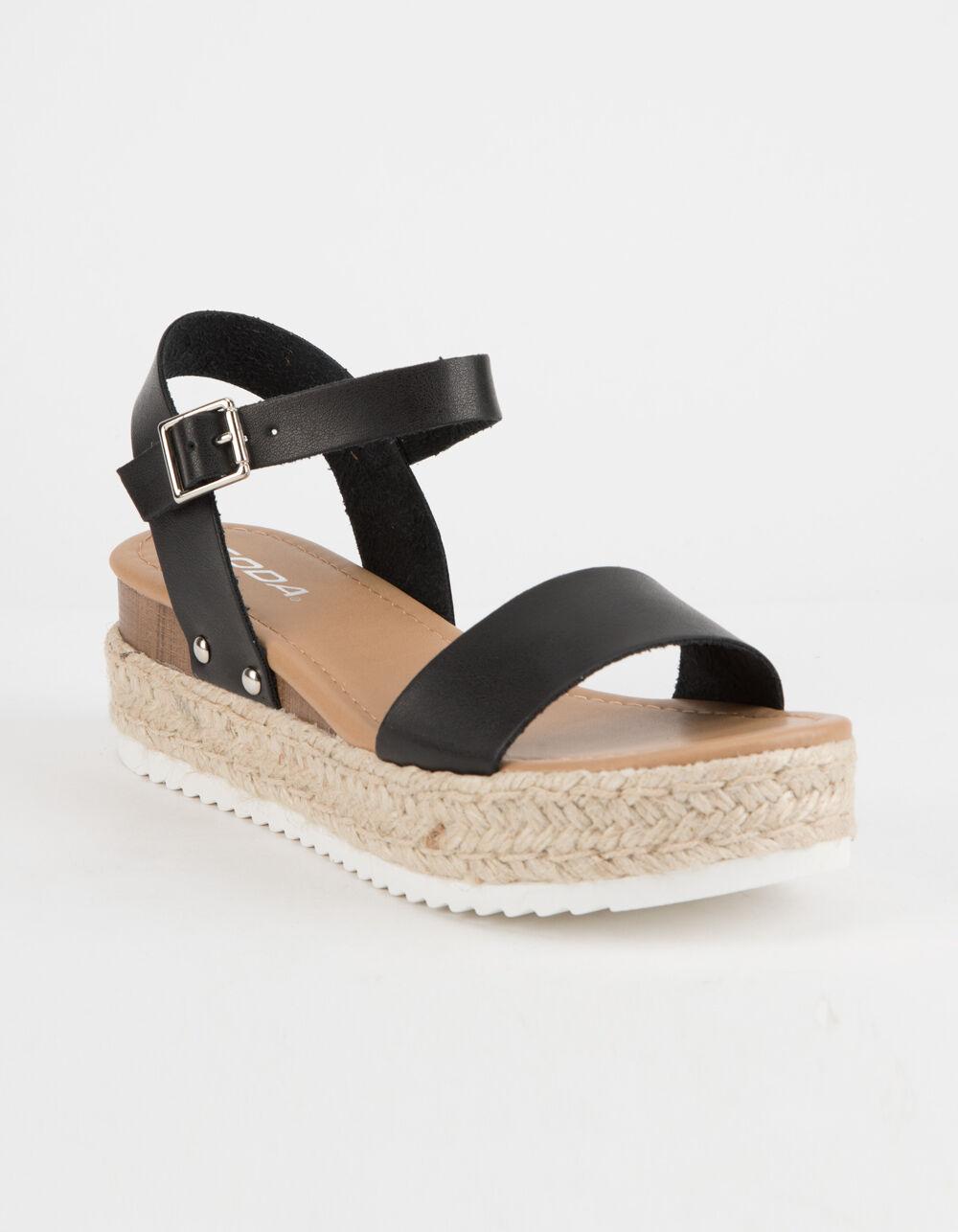 SODA Clip Black Espadrille Flatform Sandals