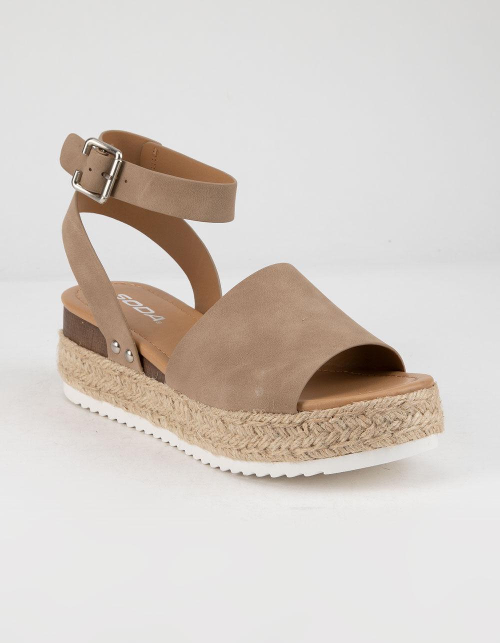 SODA Topic Natural Espadrille Flatform Sandals