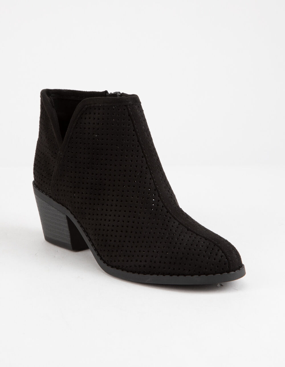 SODA Perforated Side Notch Black Girls Booties