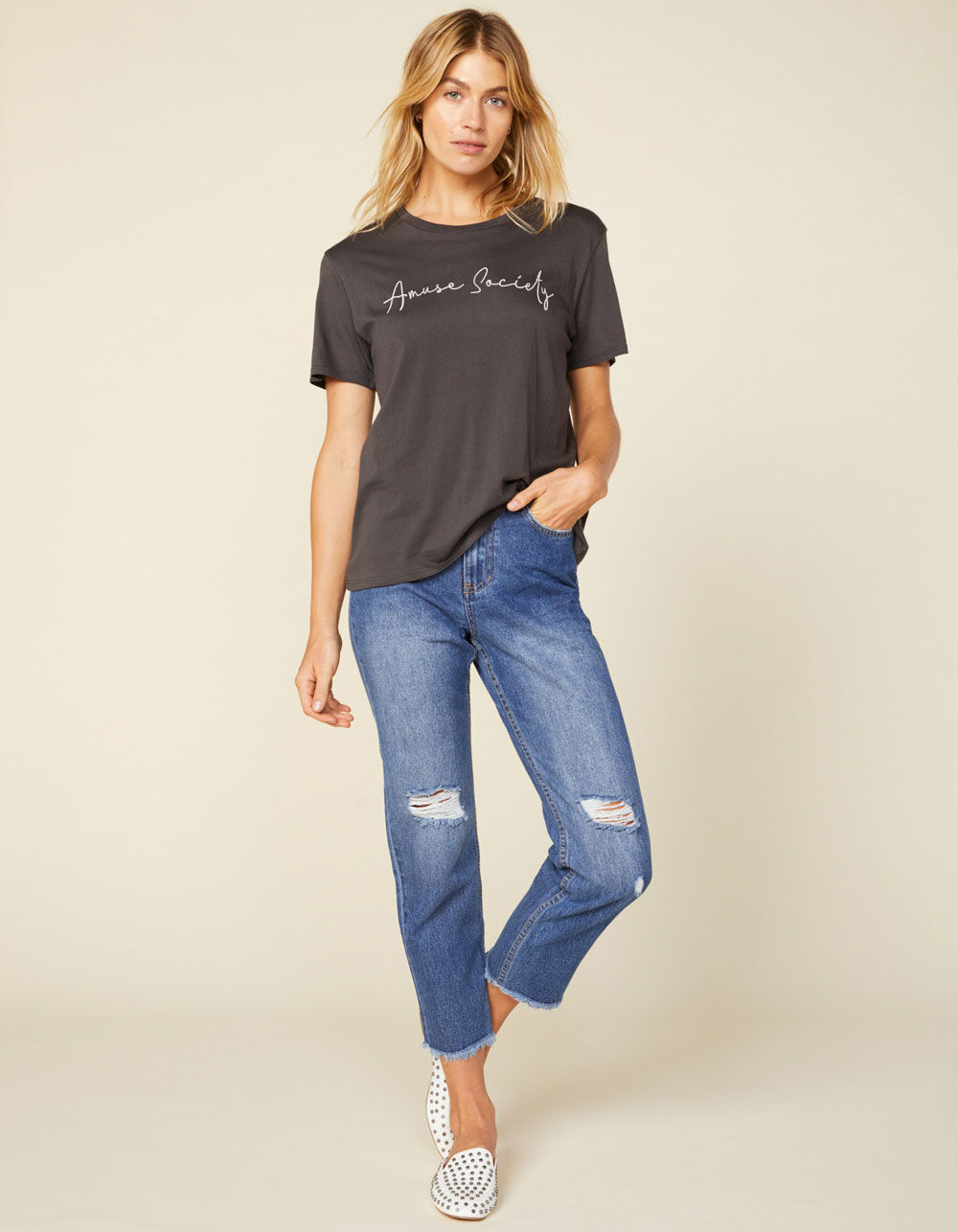 AMUSE SOCIETY Selena Blue Denim Ripped Crop Jeans