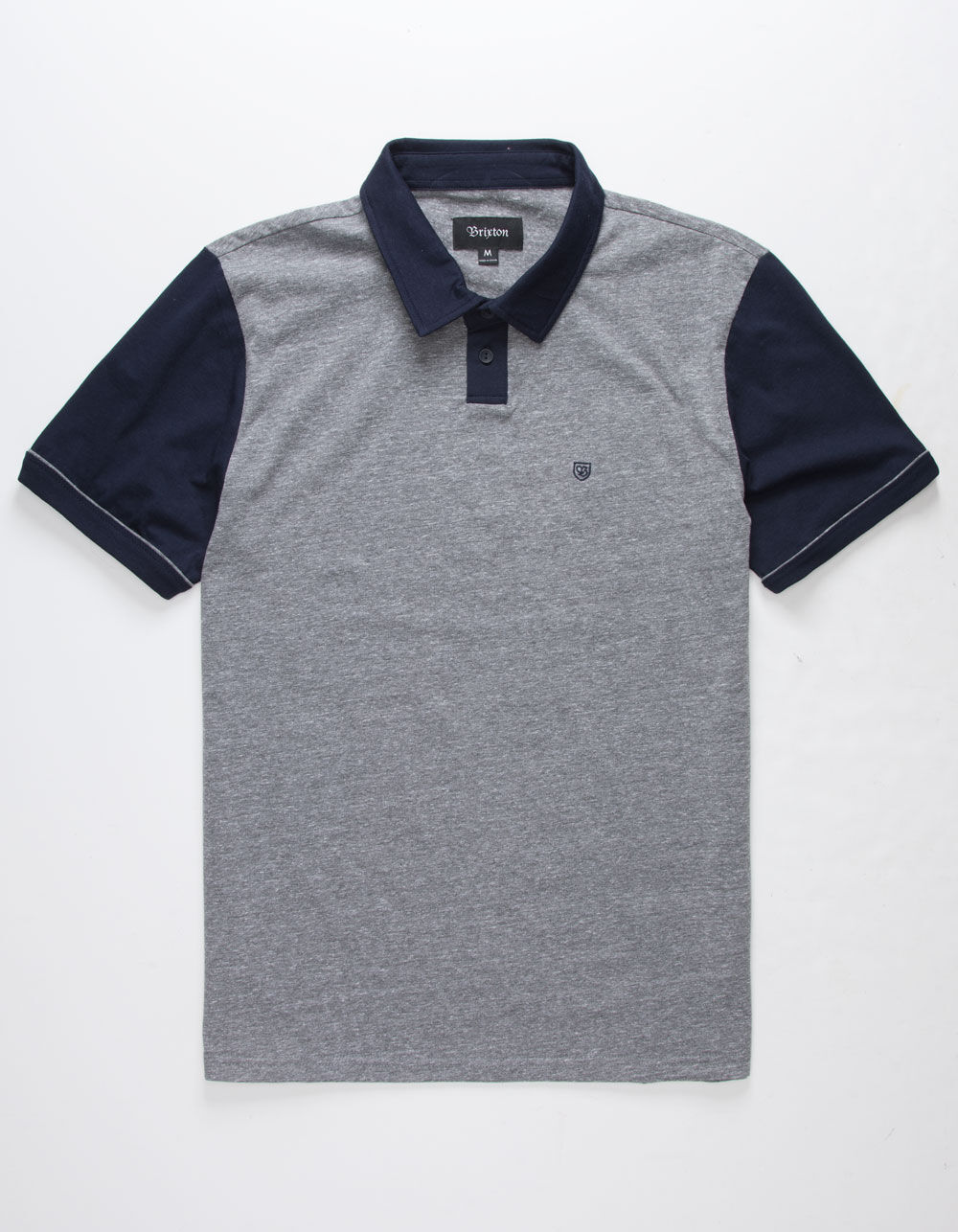 BRIXTON Carlos Gray & Navy Polo Shirt