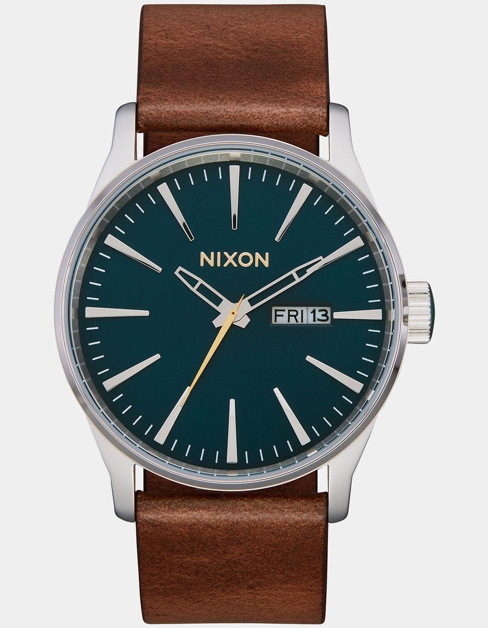 NIXON Sentry Leather Dark Green & Dark Brown Watch