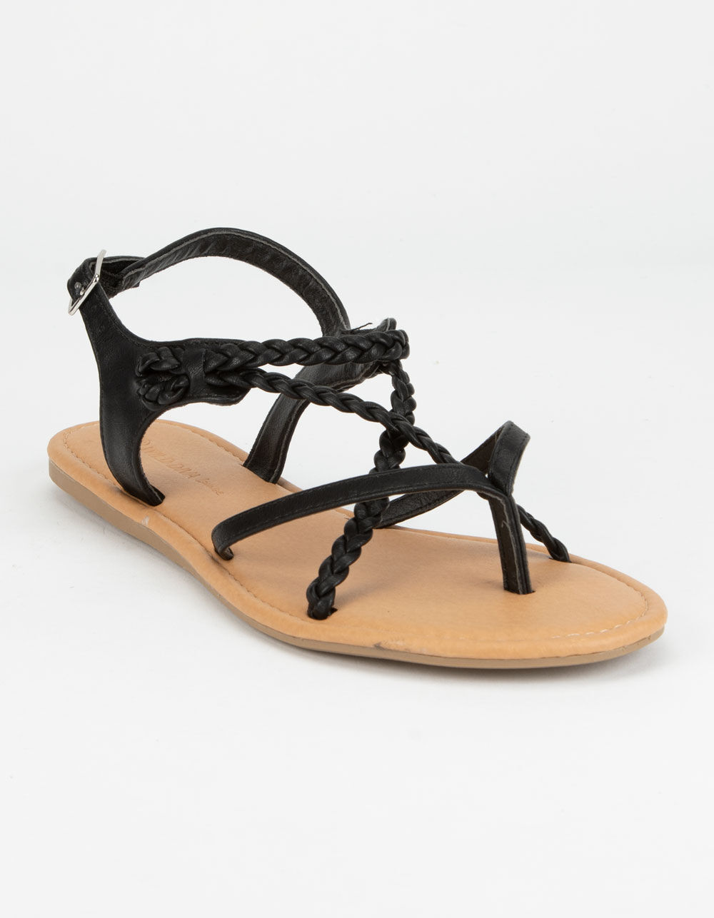 WILD DIVA Braid Ankle Strap Black Sandals
