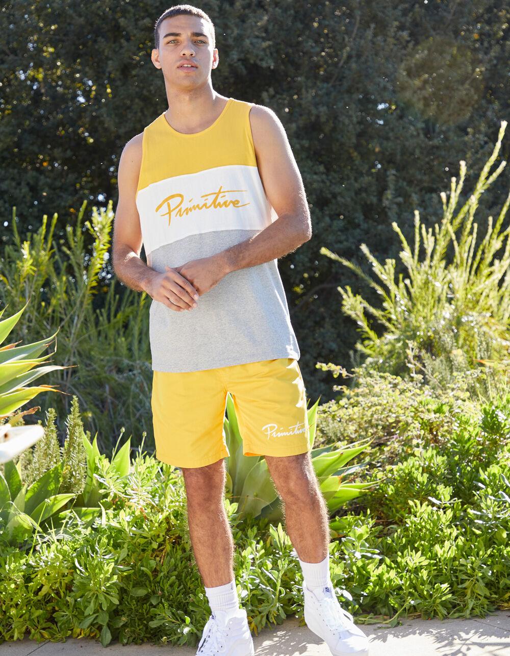PRIMITIVE Nuevo Script Yellow Volley Shorts