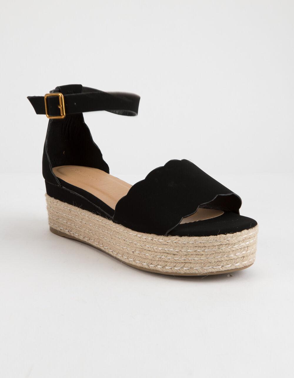 BAMBOO Scallop Espadrille Black Platform Sandals