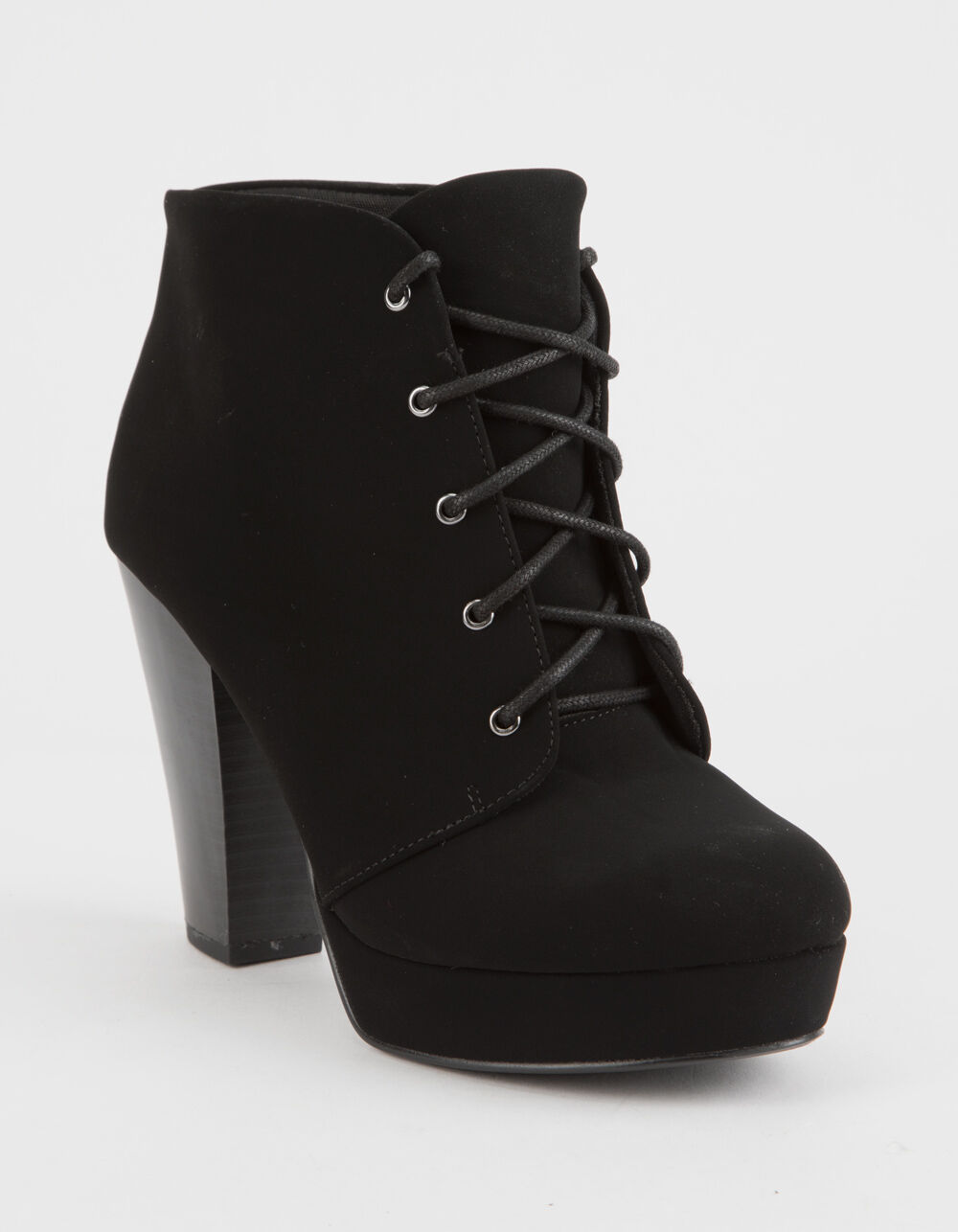 SODA Lace Up Black Heeled Booties