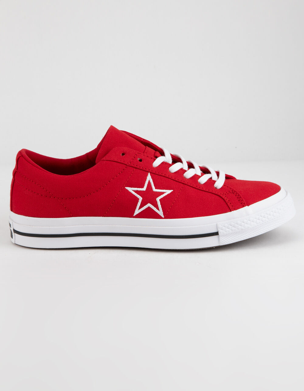 CONVERSE ONE STAR OX ENAMEL RED & WHITE LOW TOP SHOES