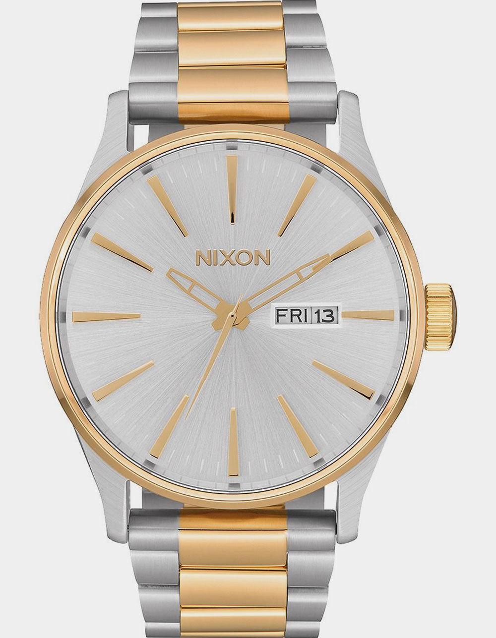 NIXON Sentry SS Silver & Gold Watch