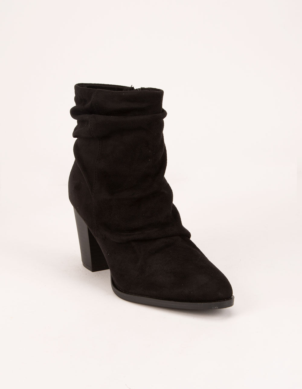 QUPID Ruched Black Booties