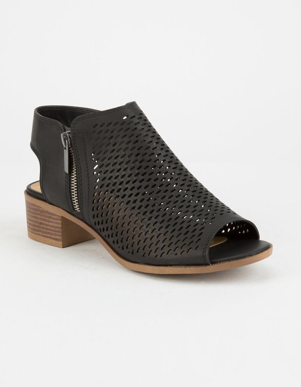 SODA Perforated Block Heel Black Booties