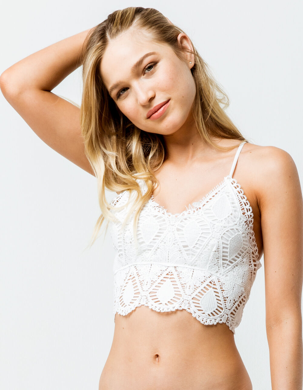 SAY WHAT? Crochet White Crop Cami