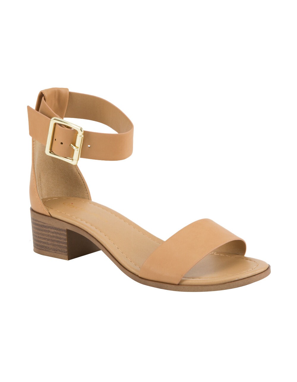 CITY CLASSIFIED SIMPLE STRAP CAMEL HEELED SANDAL