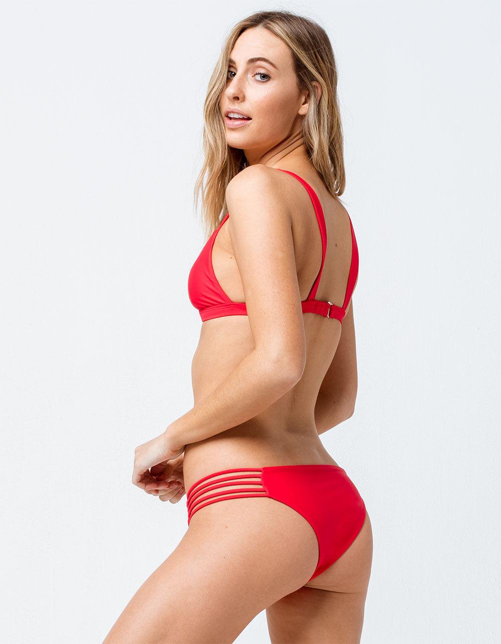 FULL TILT Cage Strap Red Cheeky Bikini Bottoms