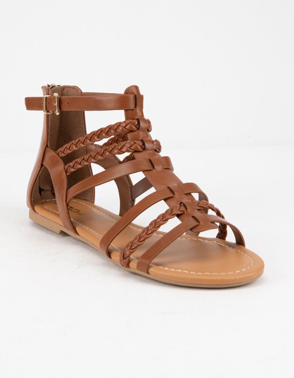 SODA Braid Back Zip Tan Gladiator Sandals