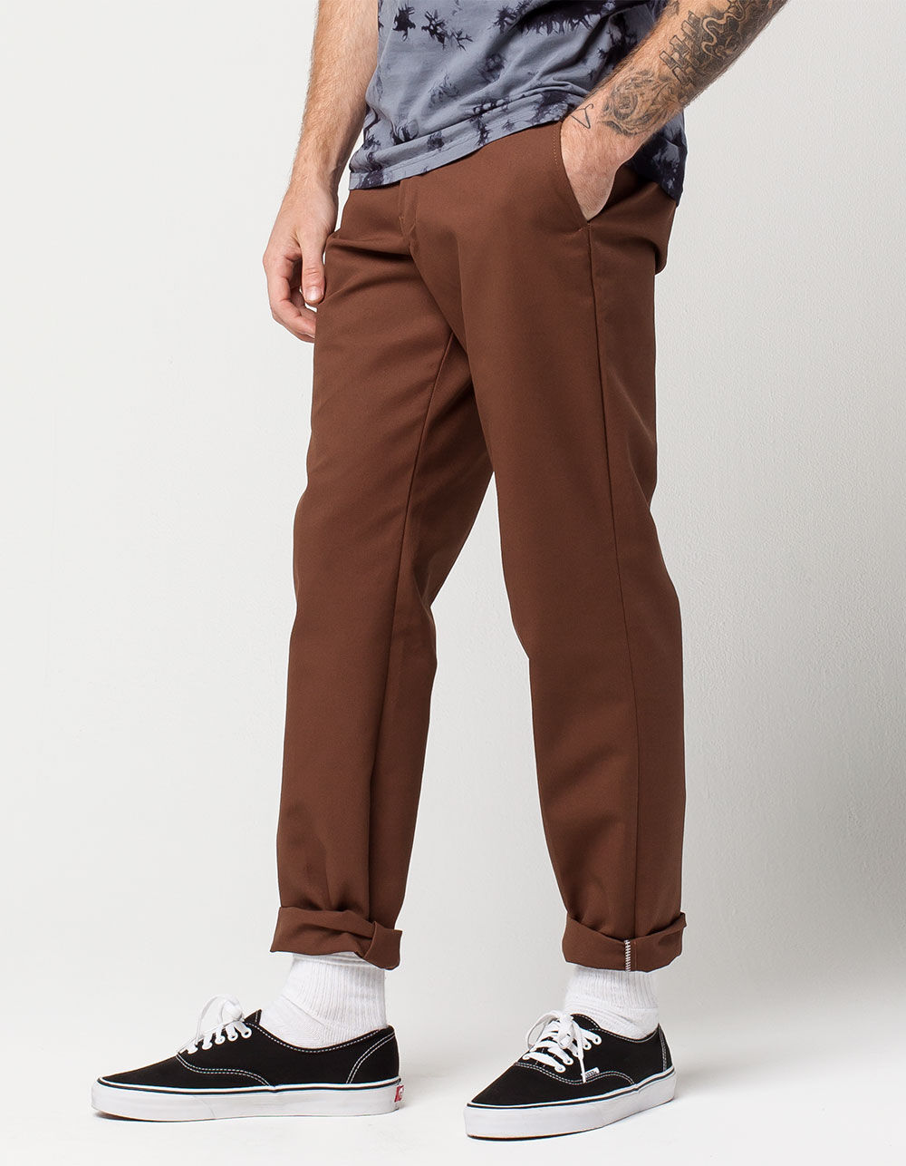Image of DICKIES 850 SLIM TAPER FLEX TIMBER BROWN PANTS