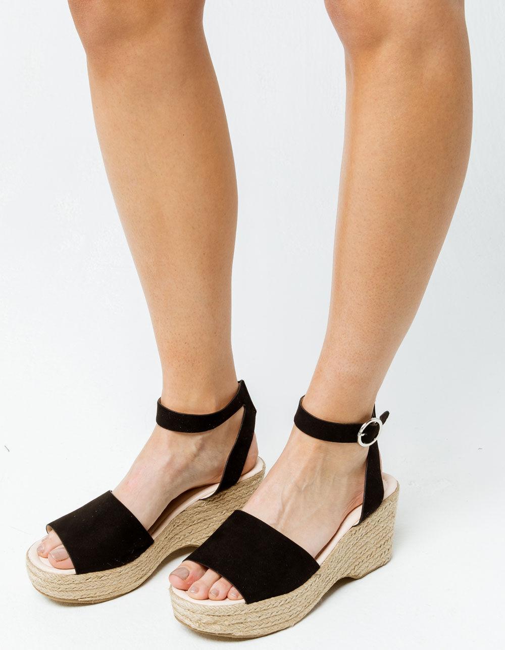 QUPID Ankle Strap Curved Espadrilles Black Sandals