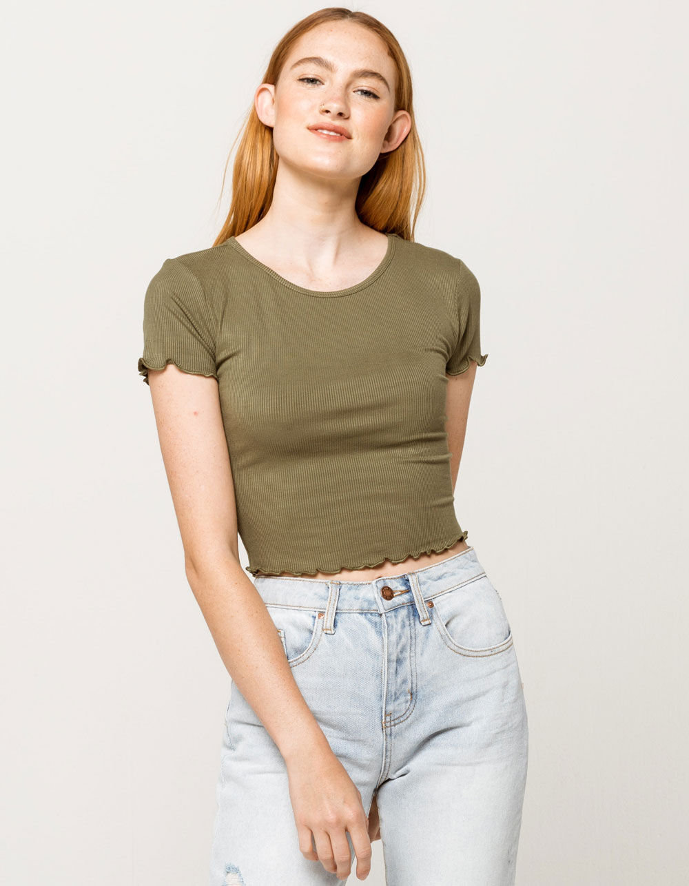 BOZZOLO Ribbed Lettuce Edge Army Crop Tee