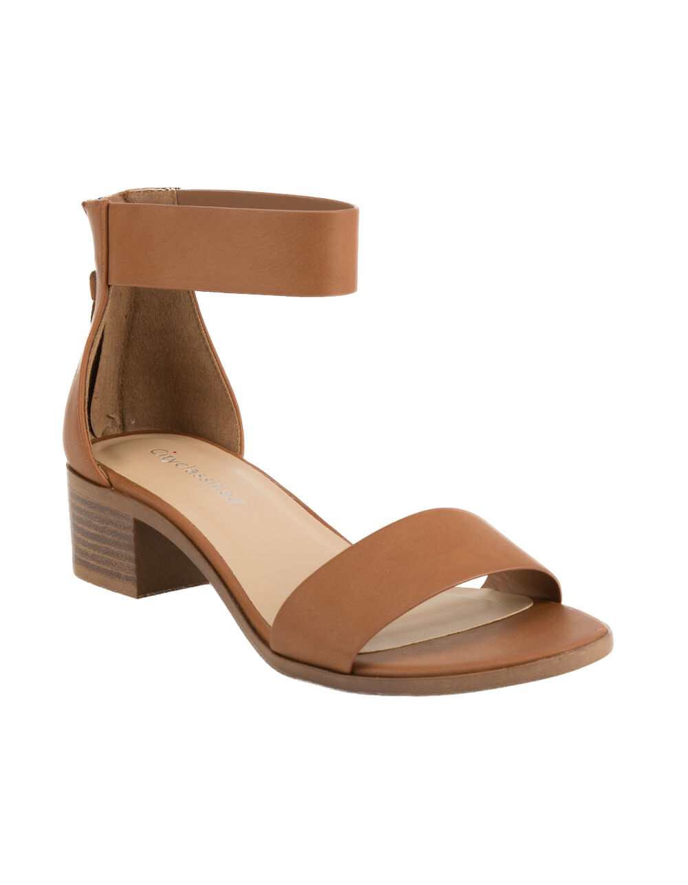 Image of CITY CLASSIFIED BLOCK TAN HEELED SANDALS