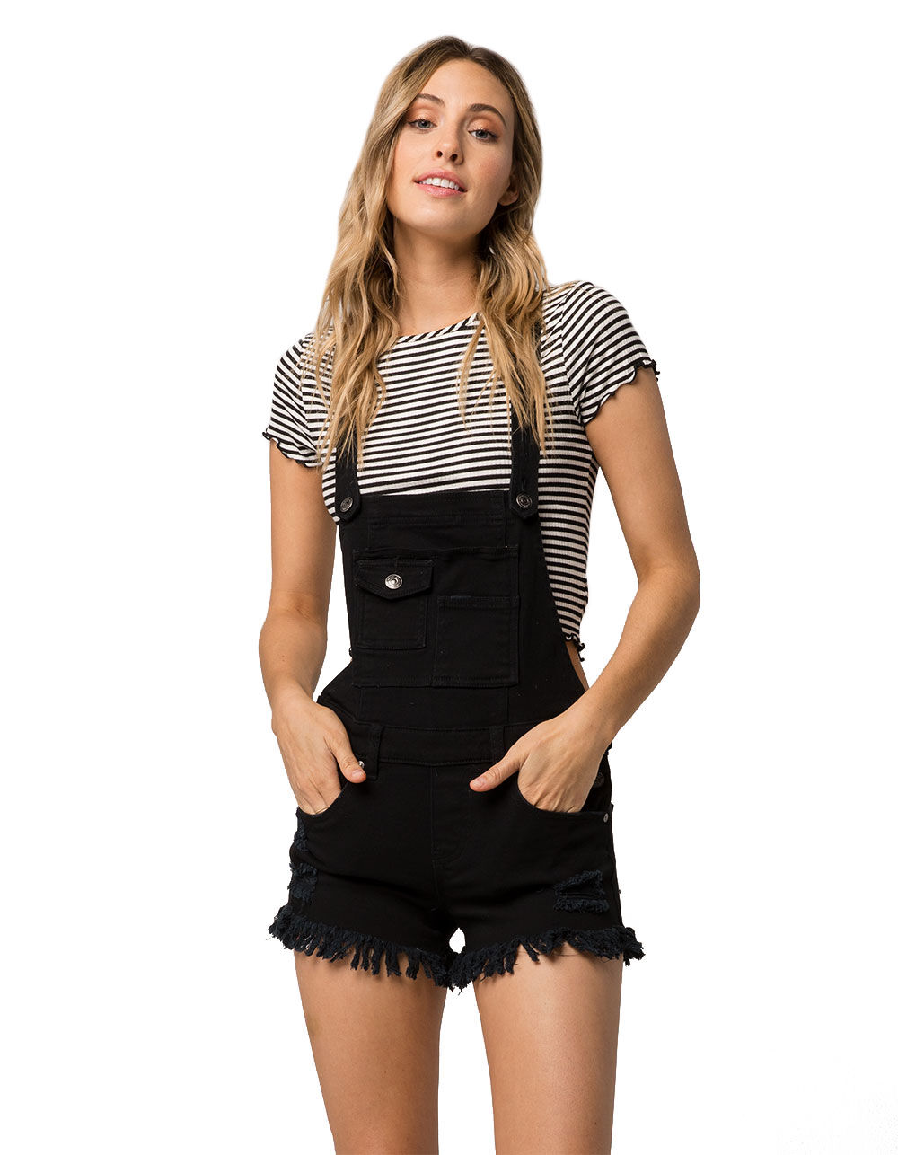 Image of ALMOST FAMOUS FRAY DENIM BLACK SHORTALLS
