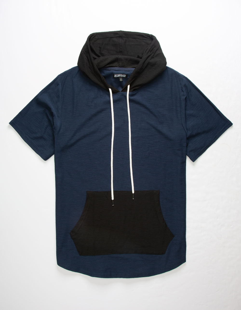 ELWOOD Color Block Navy Hooded T-Shirt