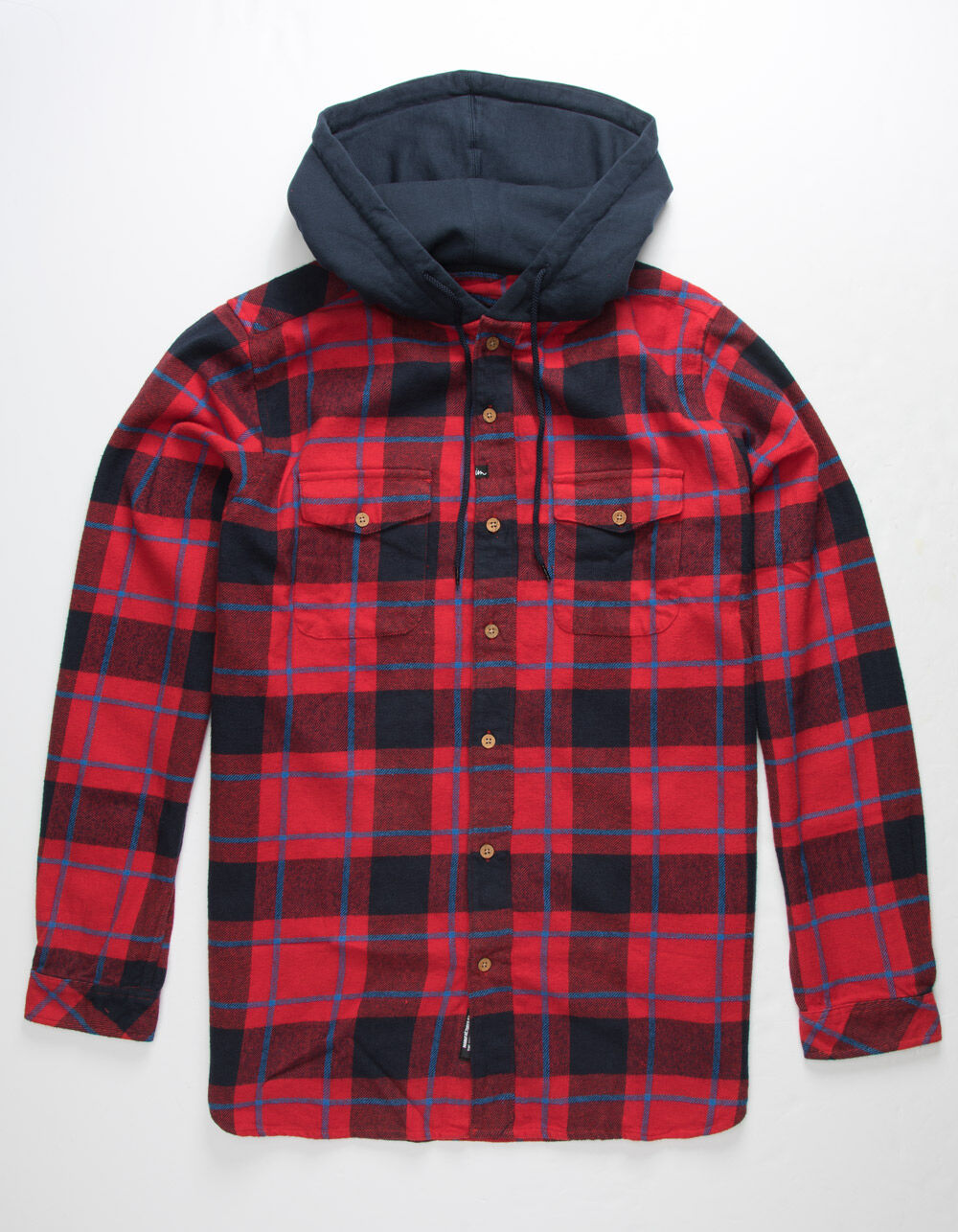 IMPERIAL MOTION Parker Red Hooded Flannel Shirt