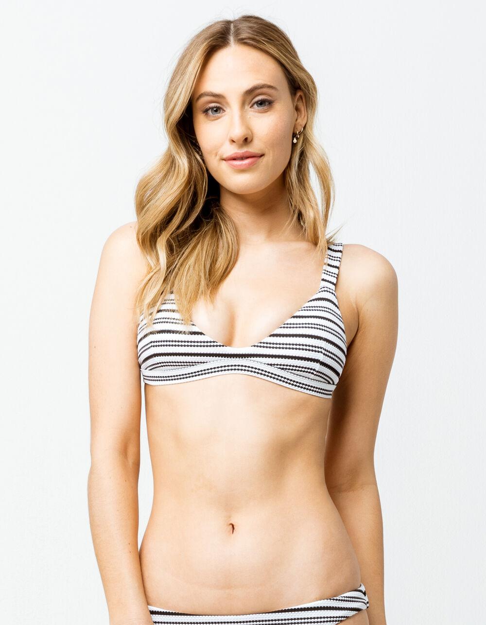 FULL TILT Textured Stripe Trilet Black & White Bikini Top