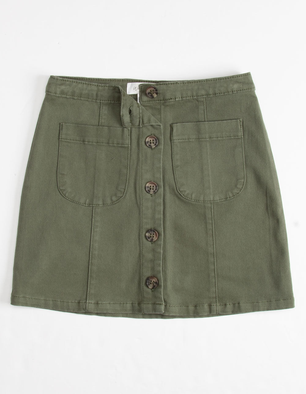 WHITE FAWN Twill Button Front Olive Girls Skirt
