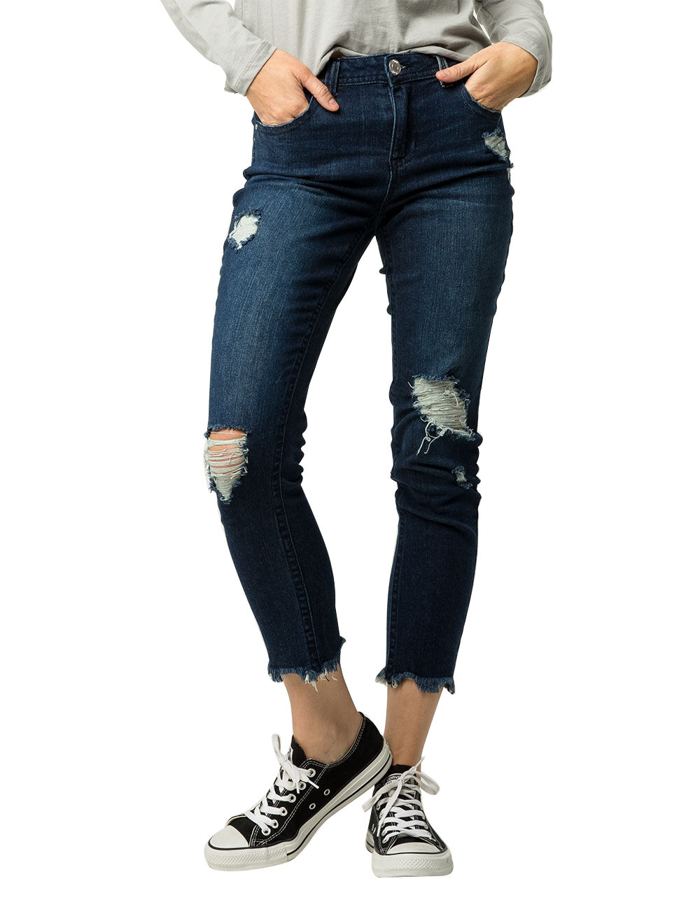SKY AND SPARROW FRAY ANKLE RIPPED JEANS