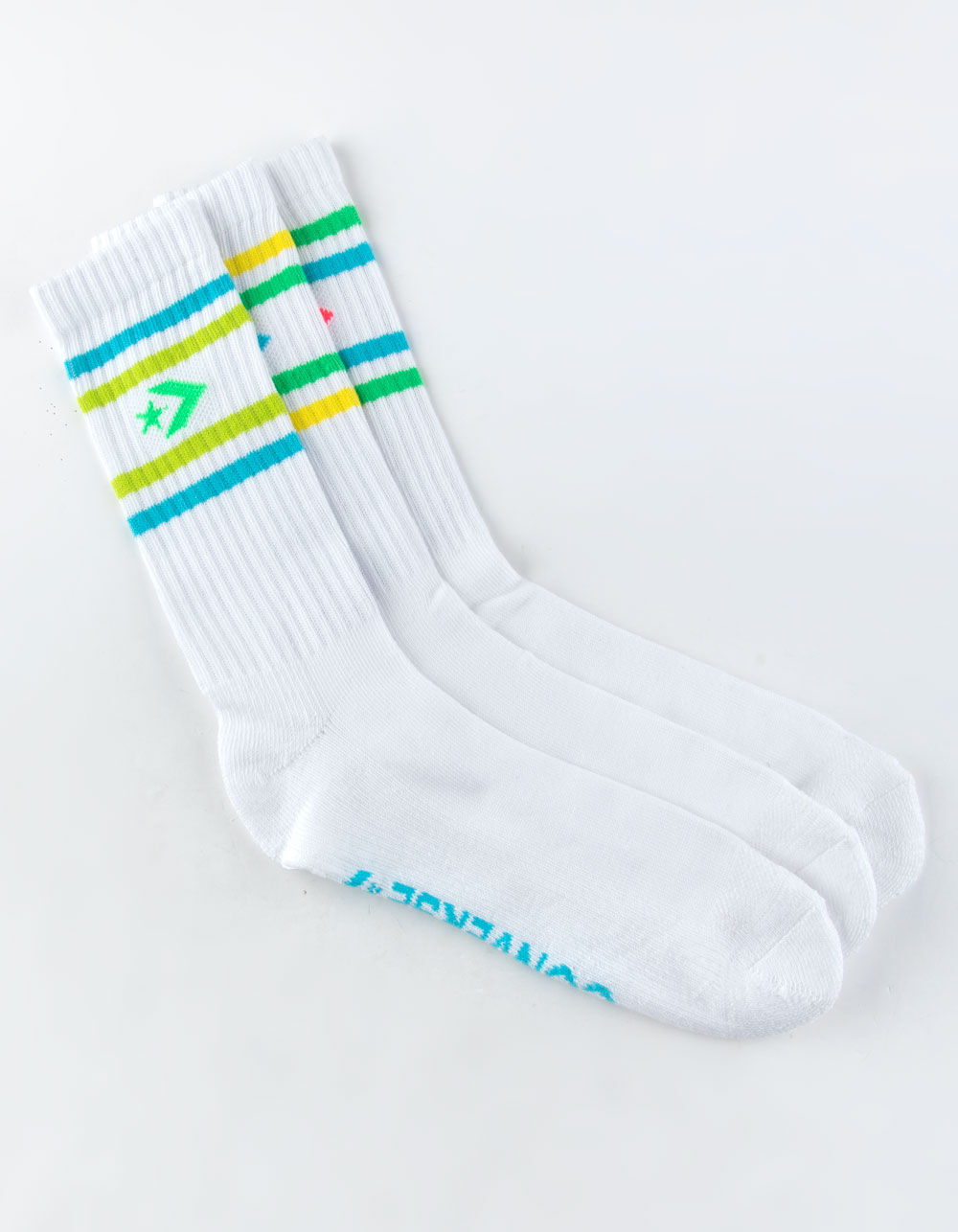 Image of CONVERSE 3 PACK STRIPE WHITE CREW SOCKS