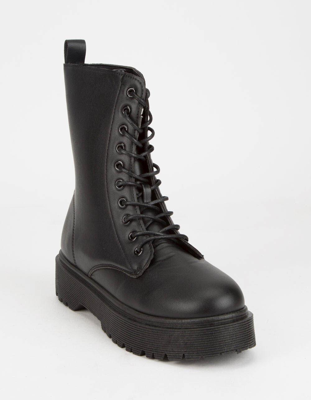 WILD DIVA Lug Sole Lace Up Combat Boots