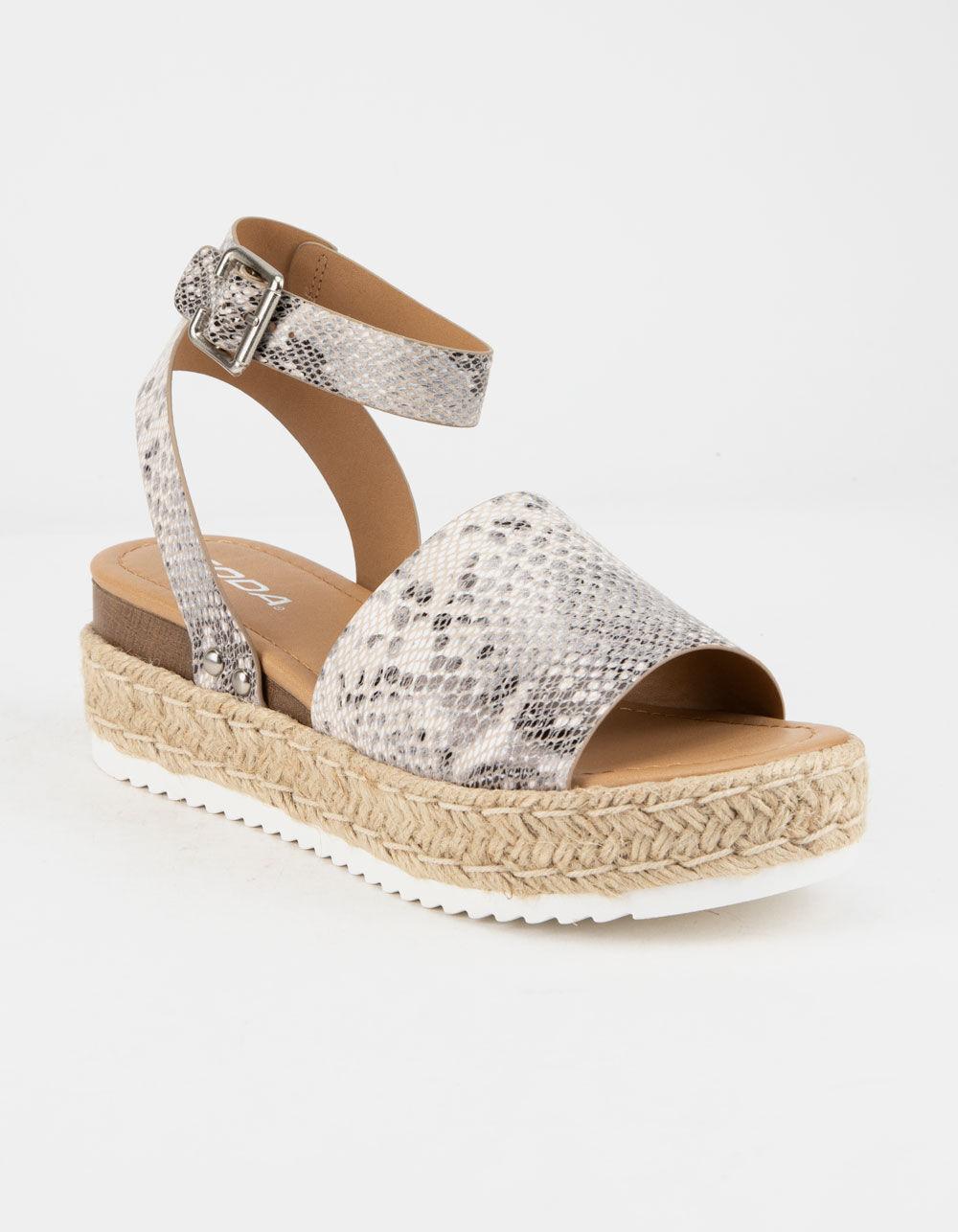 SODA Topic Beige Espadrille Flatform Sandals