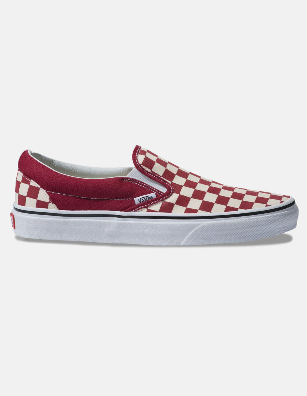 VANS CHECKERBOARD CLASSIC SLIP-ON RUMBA RED & TRUE WHITE SHOES