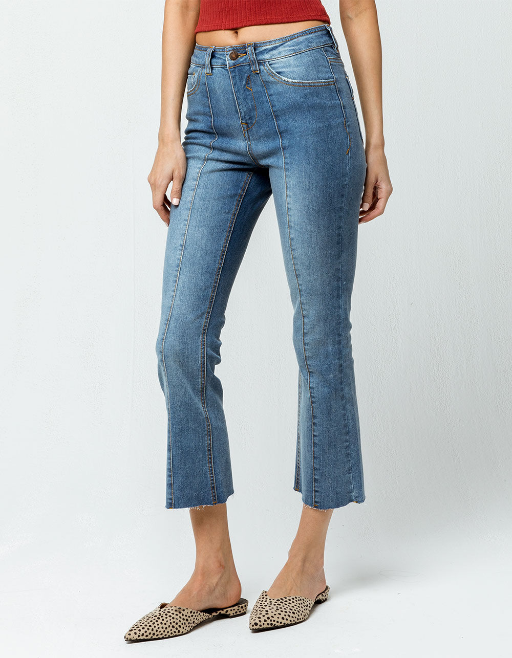 SKY AND SPARROW Seamed Crop Flare Jeans
