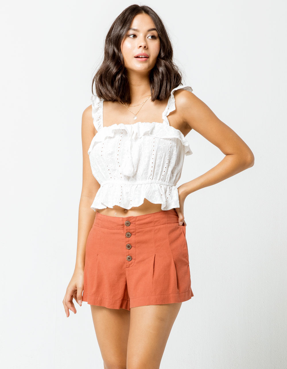 SKY AND SPARROW Exposed Button Soft Rust Shorts